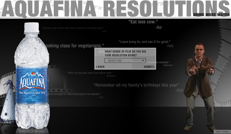 Aquafina: Resolutions on Film: what's your name